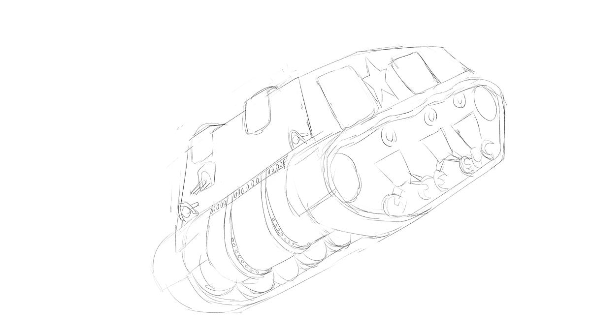 タミヤのミリタリーミニチュアシリーズ  No.190 アメリカ軍 M4シャーマン戦車初期型をイメージから描く