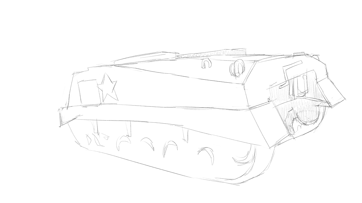 タミヤのミリタリーミニチュアシリーズ  No.190 アメリカ軍 M4シャーマン戦車初期型をスケッチ その3