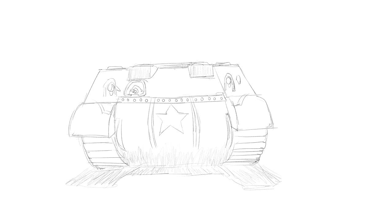 タミヤのミリタリーミニチュアシリーズ  No.190 アメリカ軍 M4シャーマン戦車初期型をスケッチ その4
