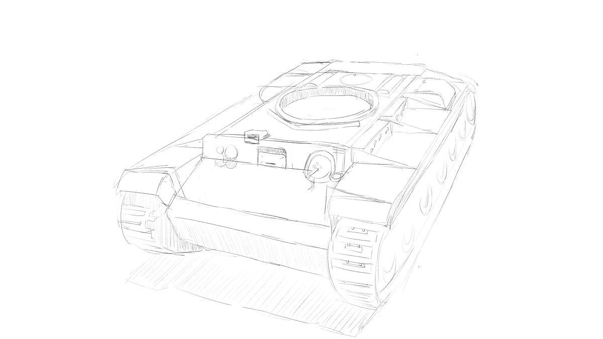 KV-1B戦車 プラモのスケッチ その1