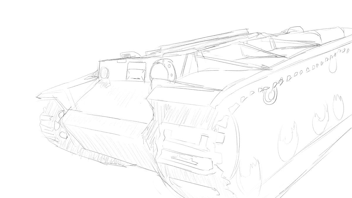 KV-1B戦車 プラモのスケッチ その2