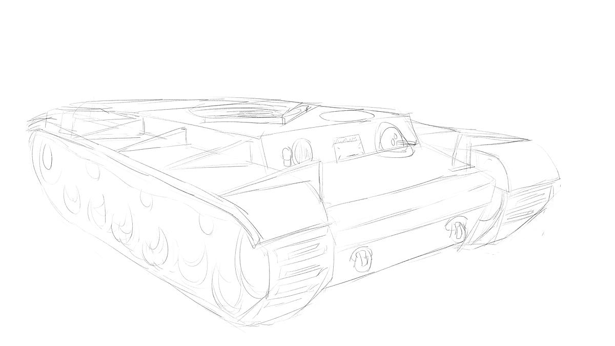 KV-1B戦車をイメージから描く その1