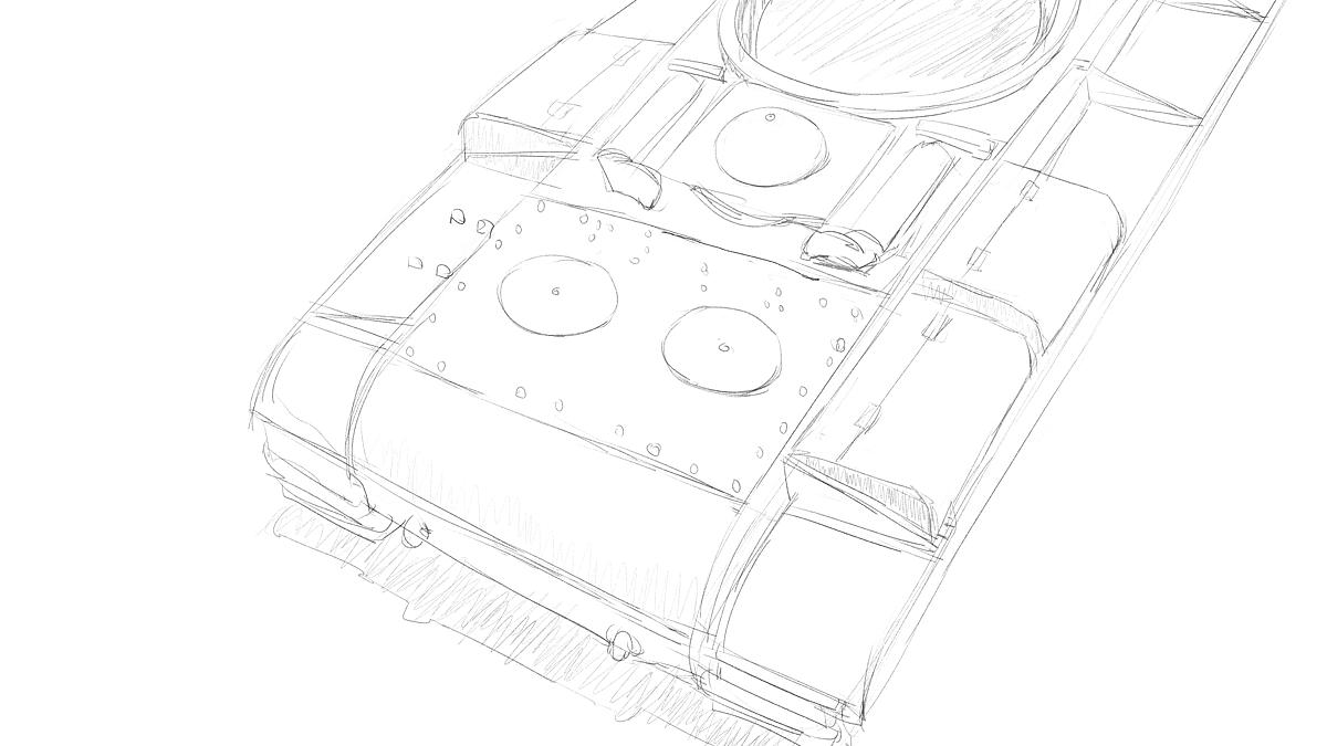 KV-1B戦車 プラモのスケッチ その3