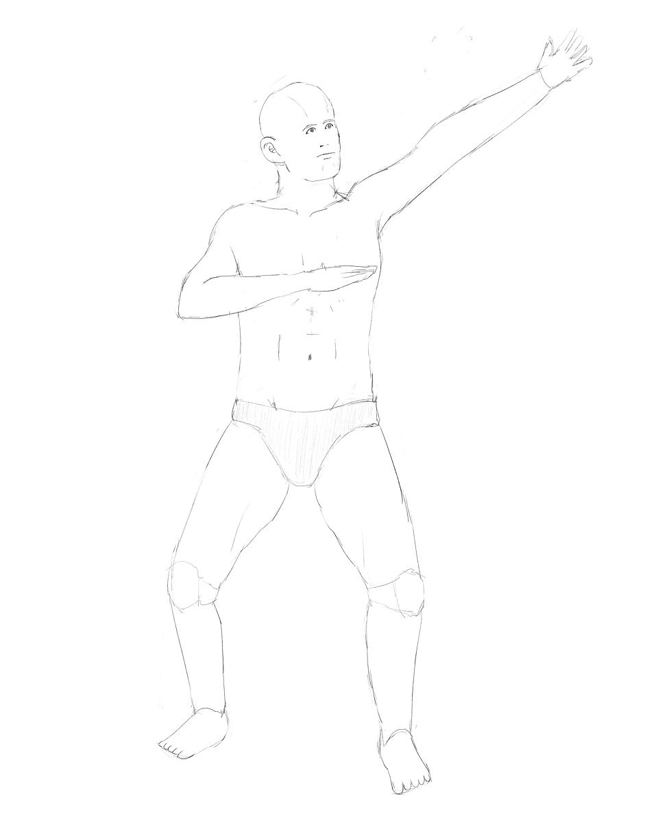 男性の素体から描く