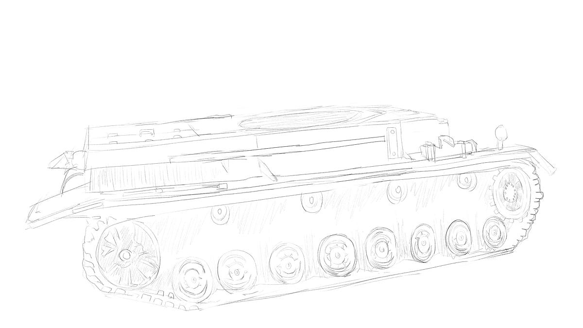 4号戦車短砲身型のプラモの写真をスケッチ