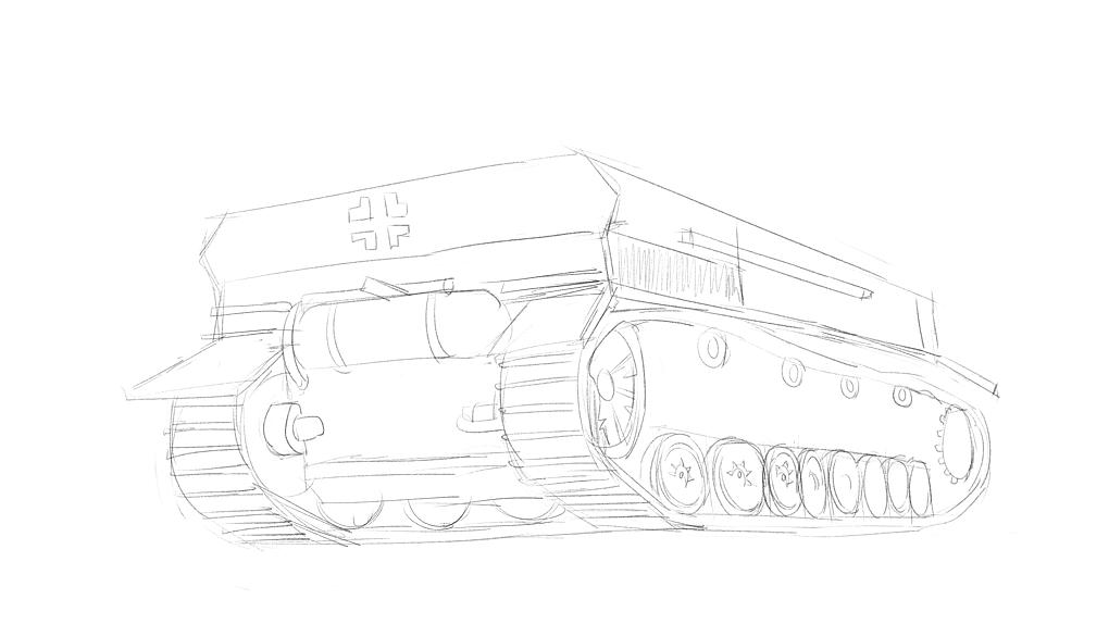 4号戦車短砲身型の車体をイメージから描く