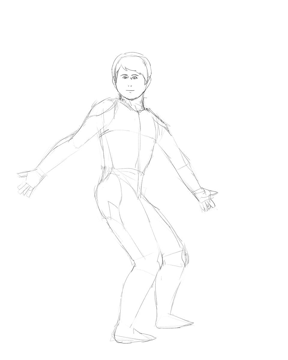 イメージから男性の体を描く その1