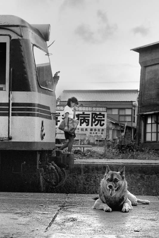 島原鉄道 布津 犬と4500 198208 55mmF28_9721take2b2