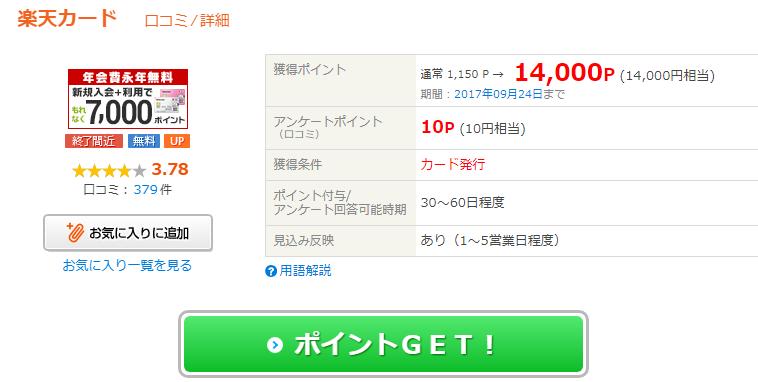 楽天カード発行で最大28000円分のポイント Nanacoチャージで