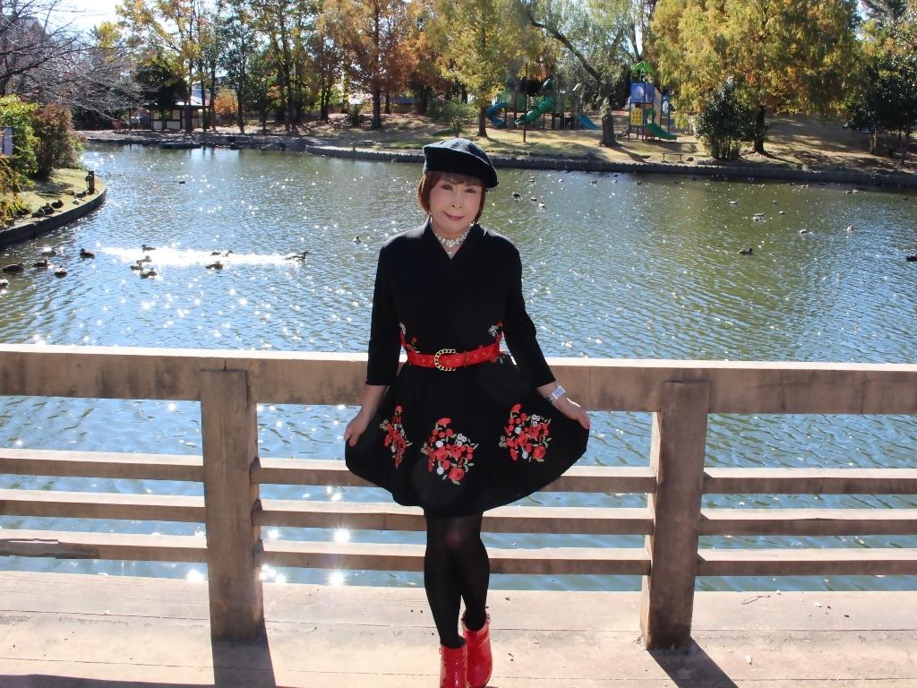 黒地に花柄刺繍フレアワンピA(7)