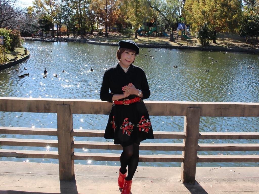 黒地に花柄刺繍フレアワンピA(8)