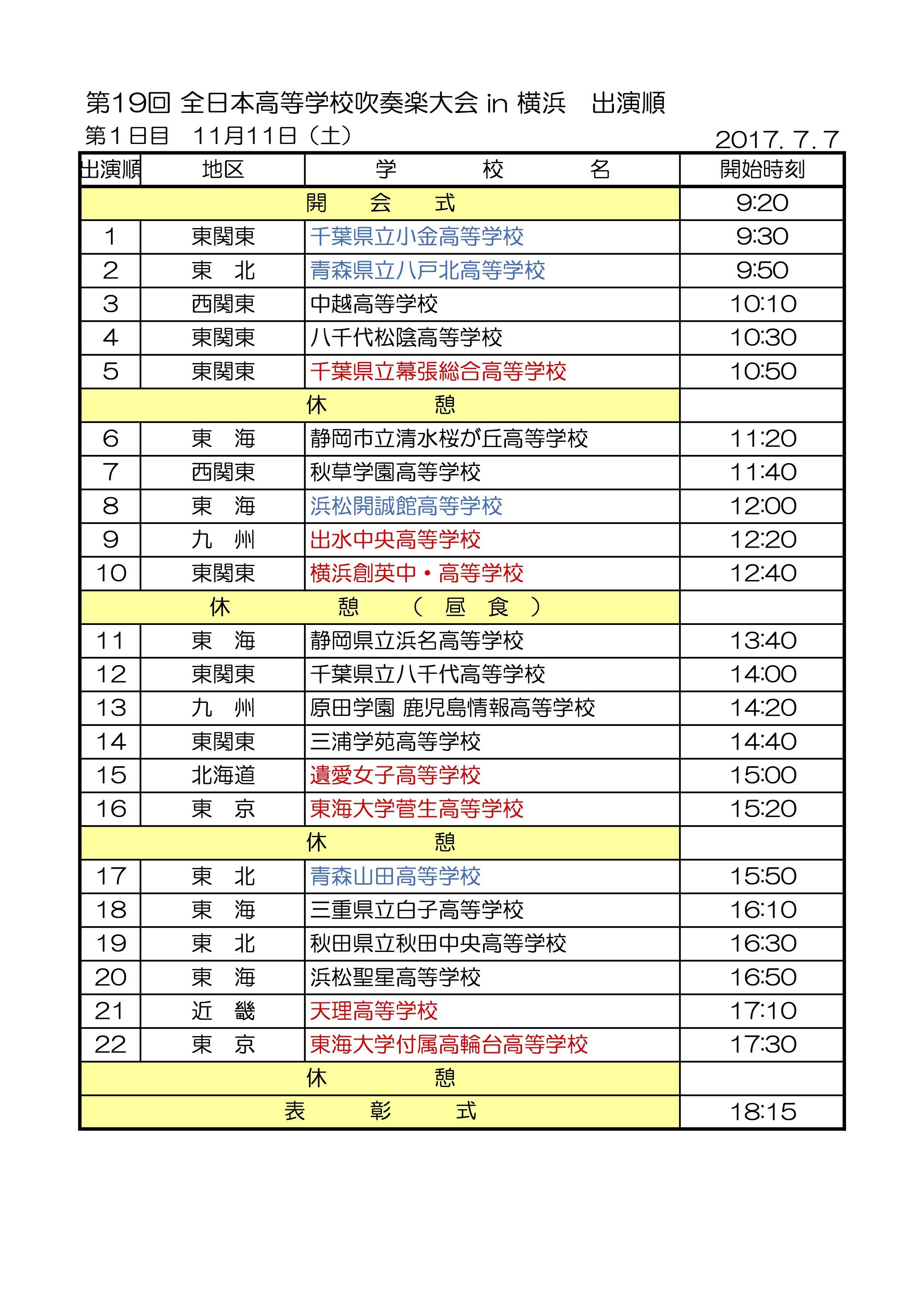全日本高等学校吹奏楽大会2017演奏順1日目