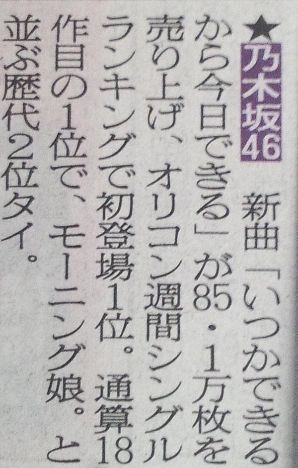 乃木坂46 19thシングル「いつかできるから今日できる」初週売上は85.1万枚