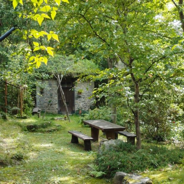 石積みの家 もうすぐ色づく前の緑の庭