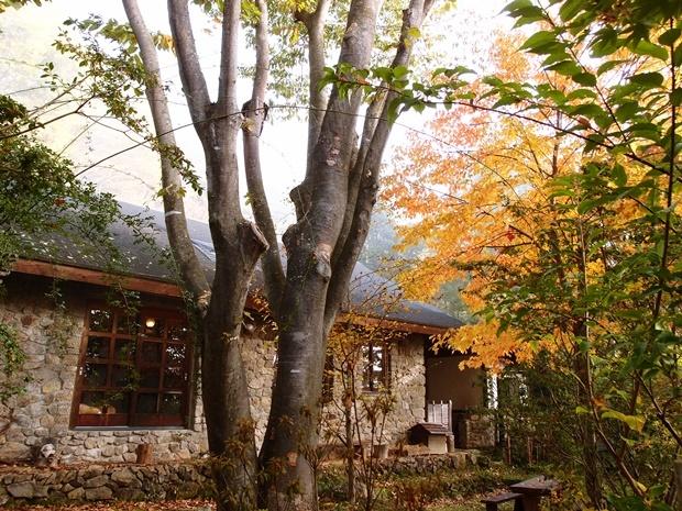 石積みの家と朝霧