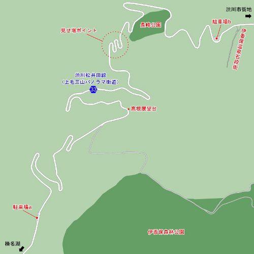 「秋名山ダウンヒルコース」モデルとなった県道33号線の地図