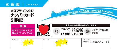 大阪マラソン引換証