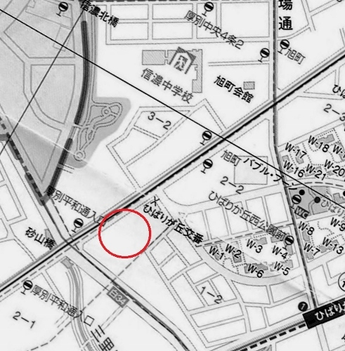 厚別区現在図 旭町公園の位置