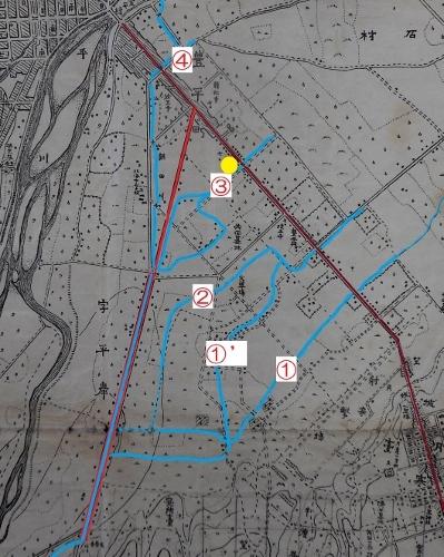 歩兵25連隊明治43年地図 連合用水