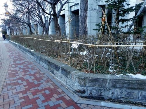 マルイト札幌ビル 外構 札幌軟石