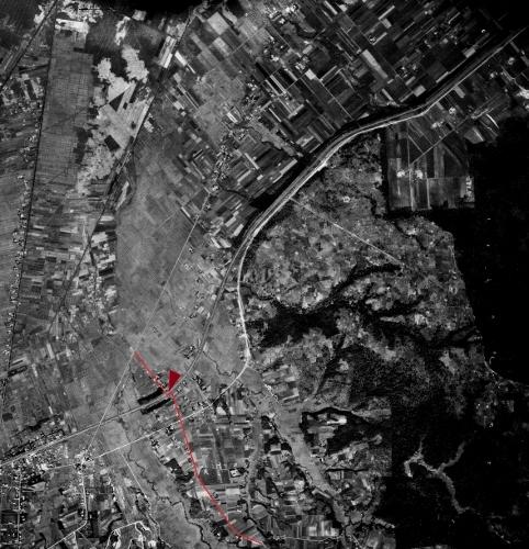 空中写真 1947年厚別 試験場線クランク