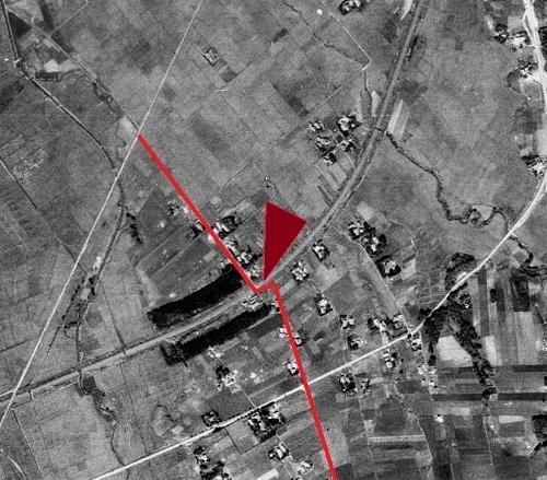 空中写真1947年米軍 厚別 試験場線クランク 拡大