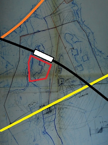 札幌市下野幌団地下水管布設設計計画図 厚別弾薬庫周辺 着色加筆