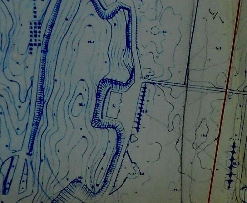 札幌市下野幌団地下水管布設設計計画図 厚別弾薬庫周辺 拡大