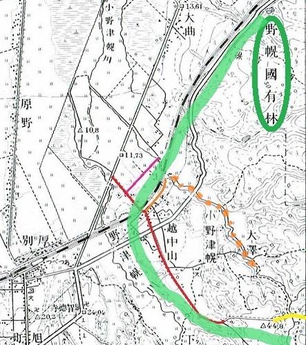 昭和10年地形図 野幌官林 想定 南線 想定