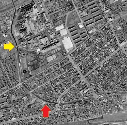 空中写真 1966年苫小牧 苫小牧川