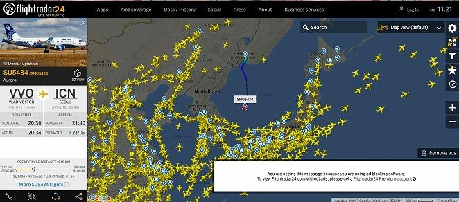 台風は平気でもミサイルは・・・北朝鮮と日本海は飛行機はほとんど飛んでいません