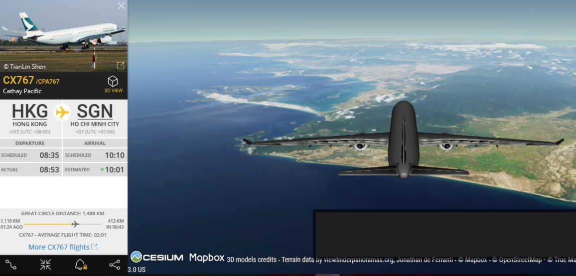 その飛行機(の架空の追随機)から見えるであろう景色!