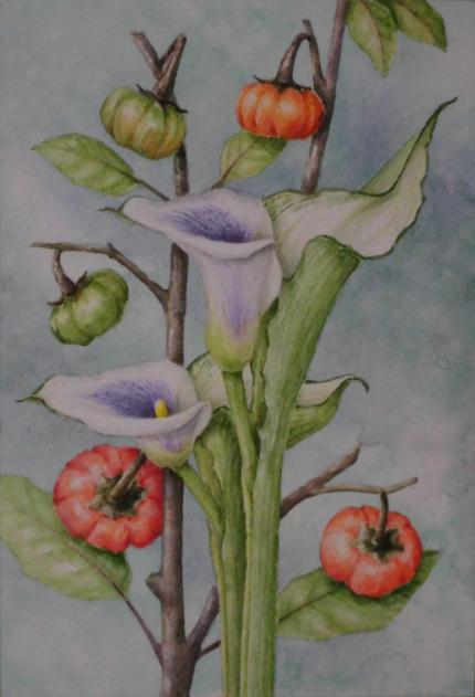 カラーとハナナス(パンプキン) 1810