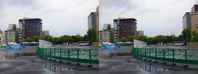 広島市民球場跡地・おりづるタワー・原爆ドーム 2017.9.17(交差法)