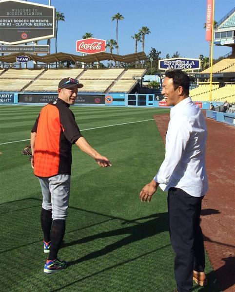 5月18日 ロサンゼルスでイチローに引退を報告した黒田博樹