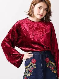ロングTシャツ赤ベロア