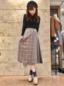 チェックプリーツ巻きスカート2