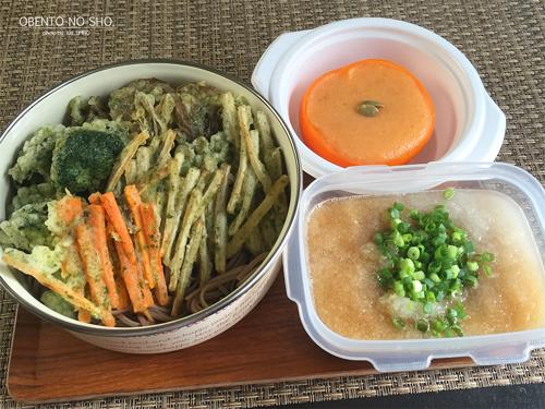 野菜磯辺揚げ蕎麦&柿プリン弁当