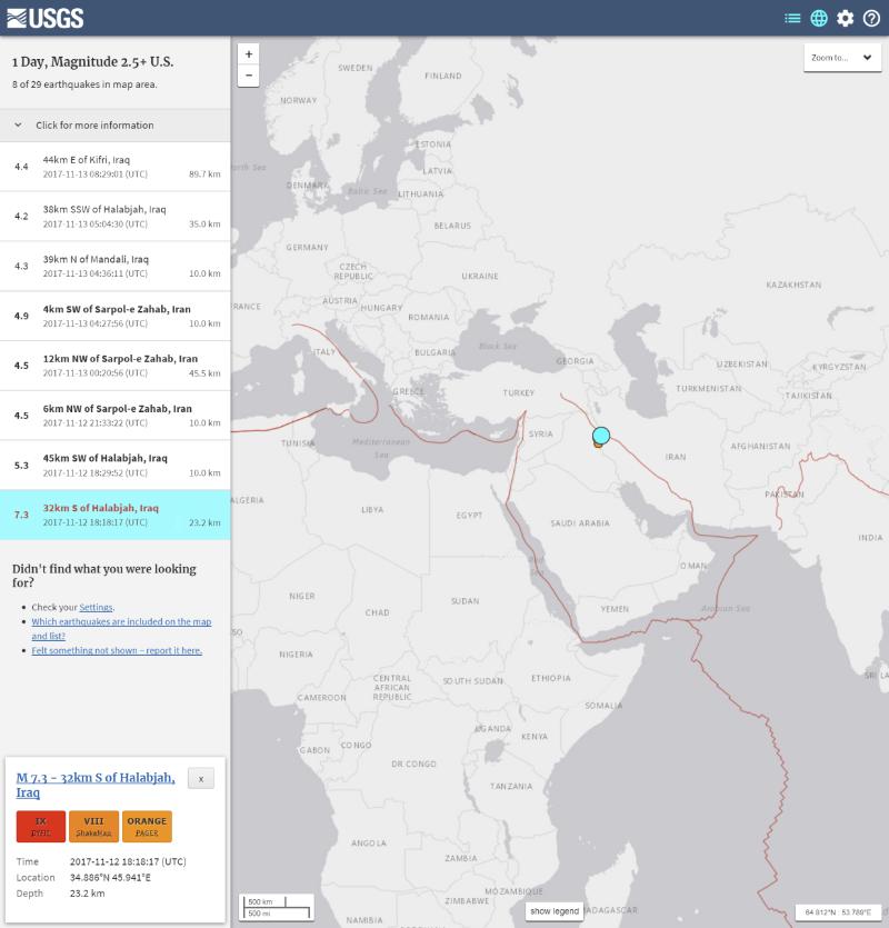 イラン・イラクの国境付近でM7.3の地震発生、今もM4クラスの余震が続く…6500人近くが負傷