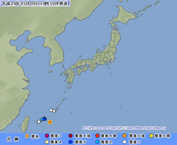 【震度3】昨日、宮古島近海であった「M6.4」の地震…マグニチュードは今年に入ってから、一番大きかった模様
