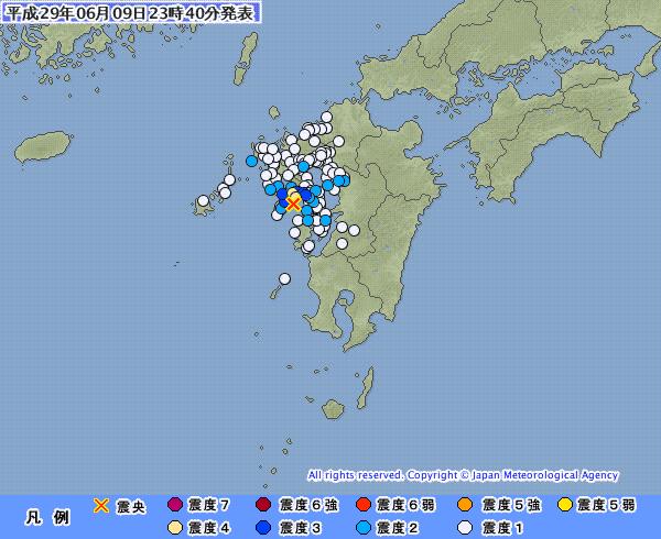 【満月】長崎県で最大震度4の地震発生 M4.2 震源地は橘湾 深さ約20km