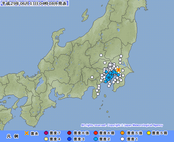 関東地方で最大震度2の地震発生 M4.0 震源地は千葉県北西部 深さ約80km