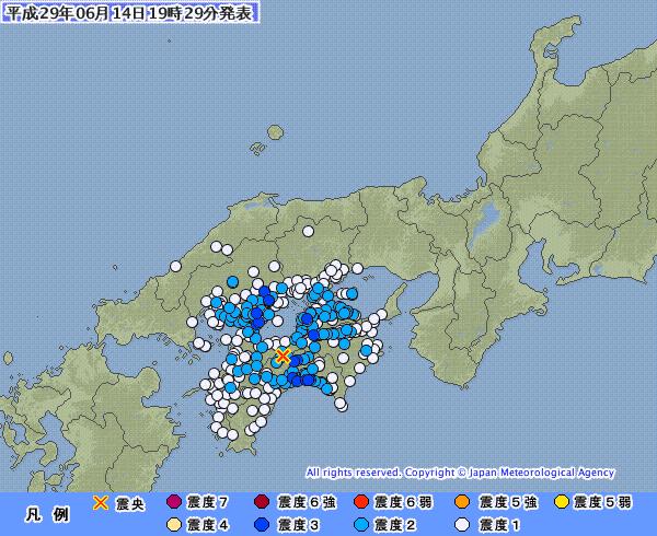 【四国】昨日、高知や広島とかが揺れた震度3の地震だけど、震源が「中央構造線」上じゃないか?