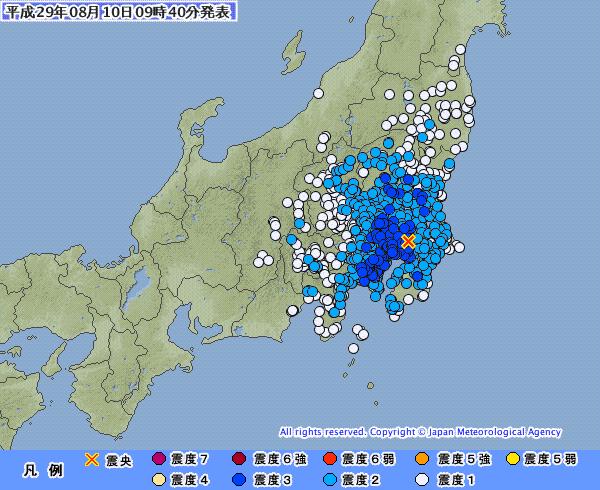 関東地方で最大震度3の地震発生 東京23区 震度3 M4.9 震源地は千葉県北西部 深さ約70km