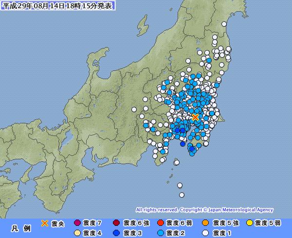 関東地方で最大震度3の地震発生 M4.5 震源地は千葉県北西部 深さ約110km