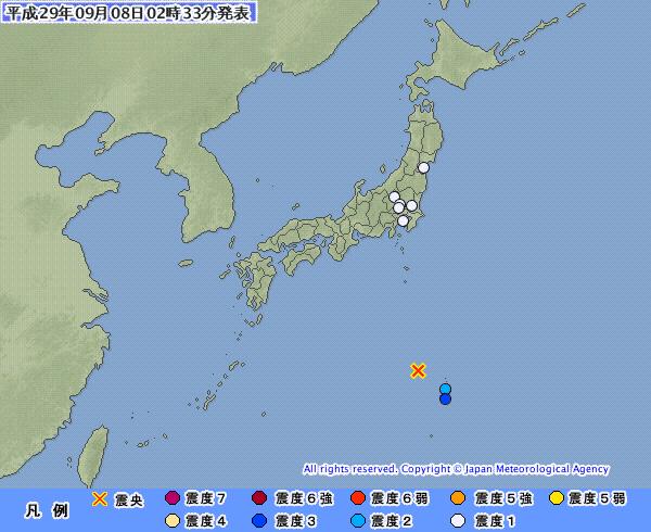 【異常震域】小笠原諸島で最大震度3の地震 M6.1 震源地は小笠原諸島西方沖 深さ約460km