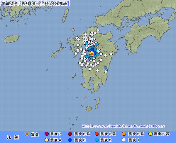 【熊本】九州地方で最大震度4の地震発生 M4.1 震源地は熊本県熊本地方 深さ約10km