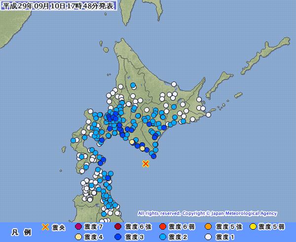 北海道で最大震度4の地震発生 M5.7 震源地は浦河沖 深さ約50km