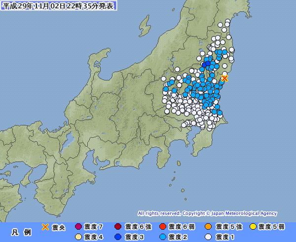 【満月】関東地方で最大震度3の地震発生 M4.3 震源地は茨城県沖