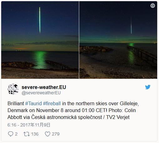 【デンマーク】垂直に落ちる「流れ星」が目撃される…磁気嵐によりオーロラが出現、さらにおうし座流星群と重なり神秘的な光景に